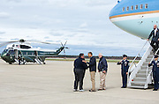 31.OCTOBER.2012. NEW JERSEY<br /> <br /> PRESIDENT BARACK OBAMA AND FEMA ADMINISTRATOR CRAIG FUGATE GREET NEW JERSEY GOV. CHRIS CHRISTIE ON THE TARMAC OF ATLANTIC CITY INTERNATIONAL AIRPORT IN ATLANTIC CITY, NEW JERSEY.<br /> <br /> BYLINE: EDBIMAGEARCHIVE.CO.UK<br /> <br /> *THIS IMAGE IS STRICTLY FOR UK NEWSPAPERS AND MAGAZINES ONLY*<br /> *FOR WORLD WIDE SALES AND WEB USE PLEASE CONTACT EDBIMAGEARCHIVE - 0208 954 5968*