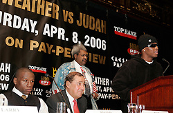 IBF Welterweight Champion Zab Judah (r) at the press conference announcing his upcoming fight against Floyd Mayweather(l).  The fight will take place on April 8, 2006 in Las Vegas.