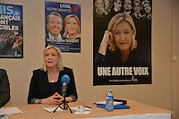 LYON, FRANCE - MARCH 01:  Christophe Boudot, Marine Le Pen and Bruno Gollnisch.<br /> French far-right Front National (FN) party president Marine Le Pen in Lyon to support Christophe Boudot, local candidate to 2014 mayoral in Lyon during a press conference at Tête d'or meeting space on March 1, 2014 in Lyon, France.  (Photo by Bruno Vigneron/Getty Images)
