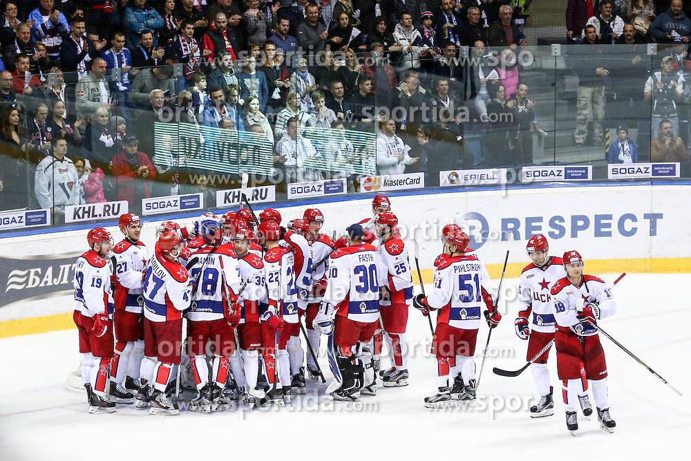 Players of CSKA Moscow celebrate during KHL League ice hockey match between HK Slovan Bratislava and CSKA Moscow, on February 27, 2015 in Ondrej Nepela Arena, Bratislava, Slovakia. Photo by Matic Klansek Velej / Sportida