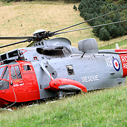 Royal Navy Search & Rescue Helicopter on excercise from HMS Gannet in the Tweed Valley next to Horsburgh Castle near Glentress