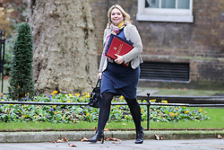 "© Licensed to London News Pictures. 18/12/2018. London, UK. Karen Bradley - Secretary of State for Northern Ireland arrives in Downing Street for the weekly Cabinet meeting. The Cabinet will discuss the preparations for a ""No Deal"" Brexit. Photo credit: Dinendra Haria/LNP"