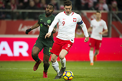March 23, 2018 - Wroclaw, Poland - Robert Lewandowski of Poland and Brian Idowu of Nigeria during the international friendly match between Poland and Nigeria at Wroclaw Stadium in Wroclaw, Poland on March 23, 2018  (Credit Image: © Andrew Surma/NurPhoto via ZUMA Press)