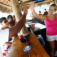 "SIESTA KEY, FL -- August 22, 2009 -- Bartender Jennifer O'Connell, or ""Bubbles"" as she is known to patrons, gets a high-five from vacationers Manoj Mathew, left to right, Ankit Rana, both of New York, and Samir Rana, of New Jersey, as she serves up drinks in the tiki bar at Captain Curt's Crab & Oyster Bar on Siesta Key in Sarasota, Fla., on Saturday August 22, 2009.  Summer is becoming a more popular time to visit Siesta Key out of season with shorter lines, cheaper rates, and more room to plop a towel and umbrella down in said sand."