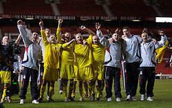 Manchester, England - Thursday, April 26, 2007: Liverpool's players celebrate after beating Manchester United on penalties to win the FA Youth Cup for the second successive year during the FA Youth Cup Final 2nd Leg at Old Trafford. L-R: captain Jay Spearing, Stephen Darby, Michael Burns, Ray Putterill. (Pic by David Rawcliffe/Propaganda)