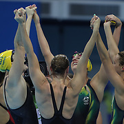 Swimming - Olympics: Day 1 The Australian team of Emma McKeon, Brittany Elmslie, Bronte Campbell and Cate Campbell, winning the gold medal in world record time in the Women's 4 x 100m Freestyle Relay Final during the swimming competition at the Olympic Aquatics Stadium August 6, 2016 in Rio de Janeiro, Brazil. (Photo by Tim Clayton/Corbis via Getty Images)