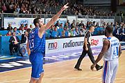 Cantù 31 Ottobre  2015<br /> Basket campionato serie A12013/2014<br /> Acqua Vitasnella  Cantù vs Enel Brindisi <br /> Nella FotoAndrea Zerini Esultanza Enel Brindisi<br /> Foto Ciamillo<br /> Provvisorio