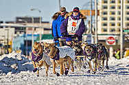 March 7th, 2009:  Anchorage, Alaska:  Jessie Royer of Fairbanks, Alaska comes to the intersection of 4th Ave and Cordova during th Ceremonial Start of the 2009 Iditarod.