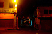 Night time in Melaka side street. Malaysia. 16th December 2011.