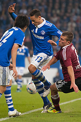 19.11.2011, Veltins Arena, Gelsenkirchen, GER, 1. FBL, FC Schalke 04 vs 1. FC Nuernberg, im Bild Zweikampf Jermaine Jones (#13 Schalke) - Christian Eigler (#8 Nuernberg) // during FC Schalke 04 vs. 1. FC Nuernberg at Veltins Arena, Gelsenkirchen, GER, 2011-11-19. EXPA Pictures © 2011, PhotoCredit: EXPA/ nph/ Kurth..***** ATTENTION - OUT OF GER, CRO *****
