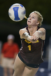 April 6, 2018 - Tucson, AZ, U.S. - TUCSON, AZ - APRIL 06: Arizona State Sun Devils Kate Baldwin (1) dives to hit the ball during a college beach volleyball match between the Arizona State Sun Devils and the Arizona Wildcats on April 06, 2018, at Bear Down Beach in Tucson, AZ. Arizona defeated Arizona State 4-1. (Photo by Jacob Snow/Icon Sportswire (Credit Image: © Jacob Snow/Icon SMI via ZUMA Press)