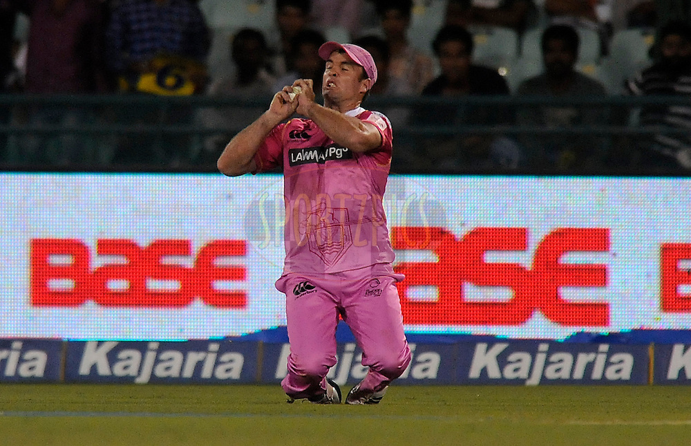 Brad Wilson of Northern Knights takes a catch to get the wicket of Hashim Amla of Cape Cobras during match 3 of the Oppo Champions League Twenty20 between the Cape Cobras and the Northern Knights held at the Chhattisgarh International Cricket Stadium, Raipur, India on the 19th September 2014<br /> <br /> Photo by:  Pal Pillai / Sportzpics/ CLT20<br /> <br /> <br /> Image use is subject to the terms and conditions as laid out by the BCCI/ CLT20.  The terms and conditions can be downloaded here:<br /> <br /> http://sportzpics.photoshelter.com/gallery/CLT20-Image-Terms-and-Conditions-2014/G0000IfNJn535VPU/C0000QhhKadWcjYs
