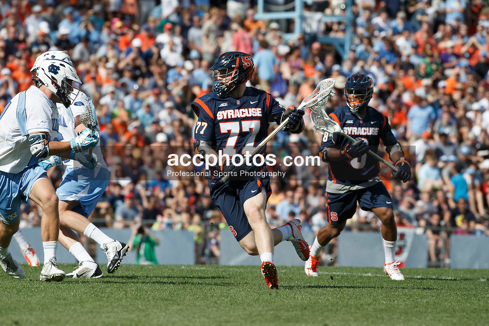 CHAPEL HILL, NC - APRIL 11: Henry Schoonmaker #77 of Syracuse Orange plays against the North Carolina Tar Heels on April 11, 2015 at Fetzer Field in Chapel Hill, North Carolina. North Carolina won 17-15. (Photo by Peyton Williams/US Lacrosse/Getty Images) *** Local Caption *** Henry Schoonmaker