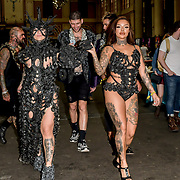 Models wearing Designer Liam Murry Art showcases it latest collection at Vintage Alternative Fashion Show at The Great British Tattoo Show, on 26 May 2019, London, UK.