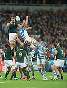 London, Great Britain, Eban ETZEBETH, redirects the line out ball,  South Africa vs Argentina. 2015 Rugby World Cup, Bronze Medal Match.Queen Elizabeth Olympic Park. Stadium, Stratford. East London. England,, Friday  30/10/2015. <br /> [Mandatory Credit; Peter Spurrier/Intersport-images]