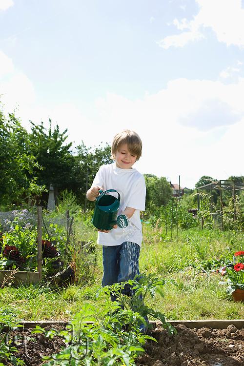 Boy watering plants in garden