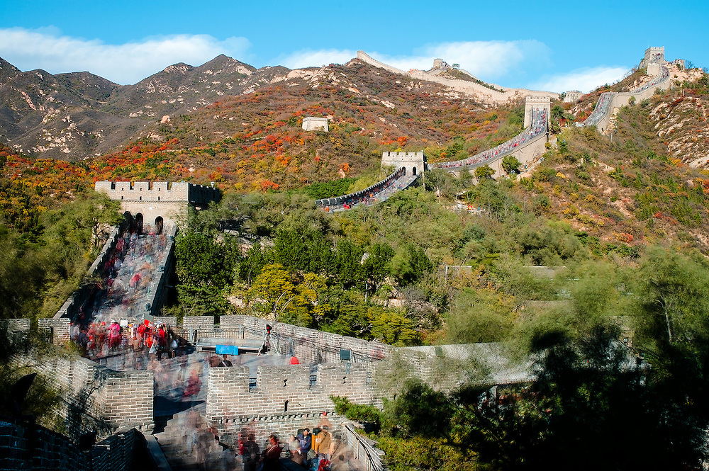 Multiple-exposure photograph of the Great Wall of China at Badaling north of Beijing showing the river of tourists that walk the Wall each day