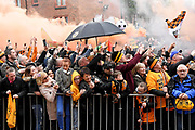 Wolverhampton Wanderers fans wait for the team coach with flares during the EFL Sky Bet Championship match between Wolverhampton Wanderers and Sheffield Wednesday at Molineux, Wolverhampton, England on 29 April 2018. Picture by Alan Franklin.