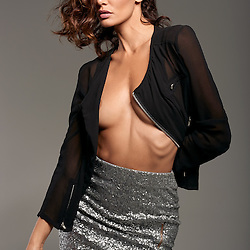 Model Houda Shretah In Black Top and Silver Skirt by Los Angeles Fashion Photographer Chris Violette