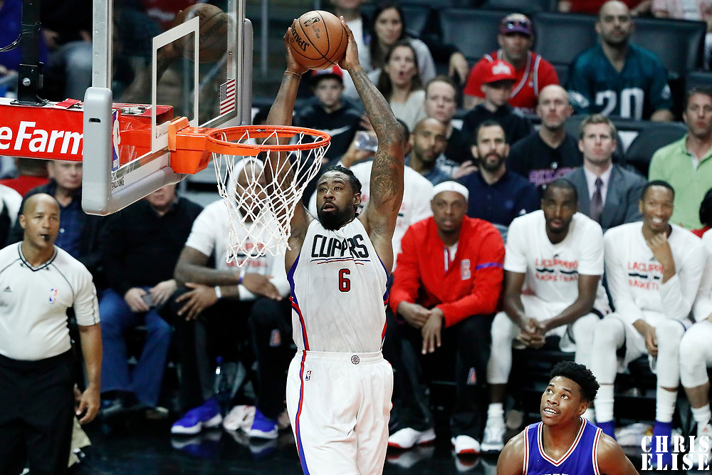 11 March 2017: LA Clippers center DeAndre Jordan (6) goes for the dunk during the LA Clippers 112-100 victory over the Philadelphia Sixers, at the Staples Center, Los Angeles, California, USA.