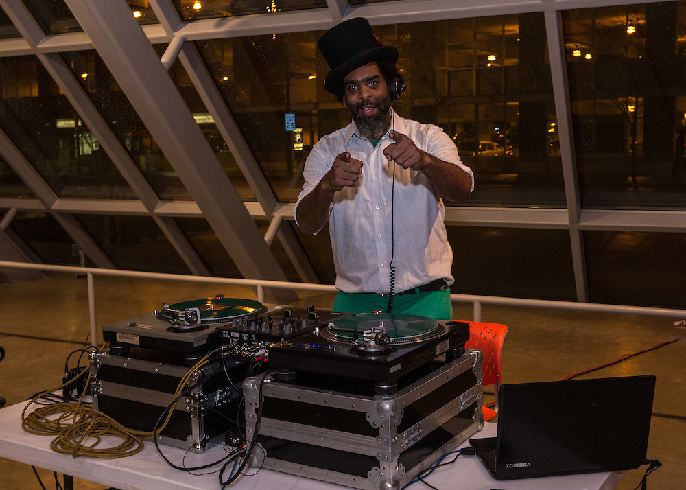 DJ Roger Riddle in the Akron Art Museum at First Night Akron 2017 on Dec. 31, 2016.