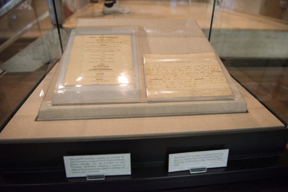 Program notes from President McGuffy's inauguration of 1839 on display at Alden Library.