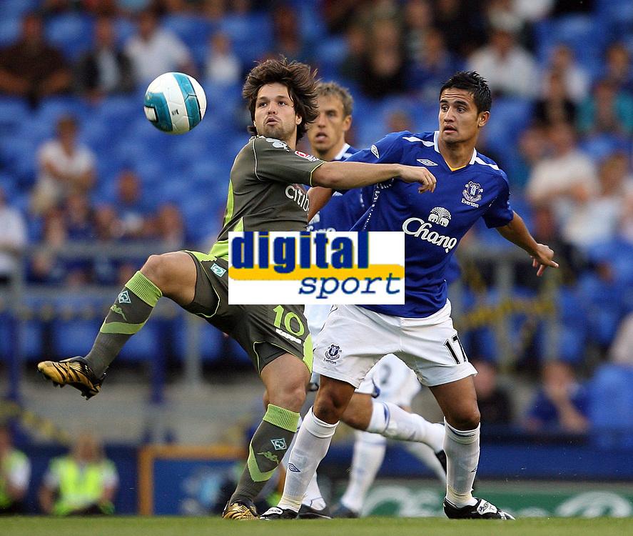 Photo: Paul Thomas.<br /> Everton v Werder Bremen. Pre Season Friendly. 31/07/2007.<br /> <br /> Tim Cahill of Everton battles with Diego (L).