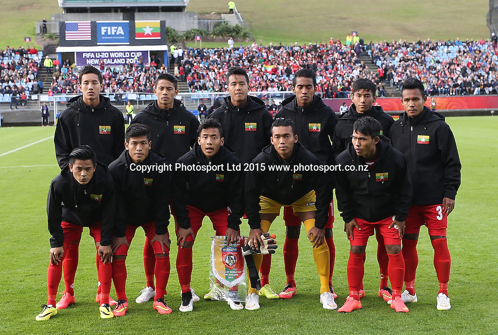 Myanmar before the Group A FIFA U20 World Cup Match between USA and Myanmar at Northlands Event Centre, Whangarei, Northland, New Zealand, Saturday, May 30, 2015. Copyright photo: David Rowland / www.photosport.co.nz