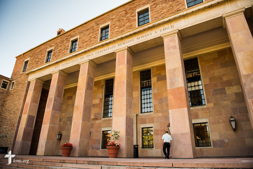 Dr. E. Christian Kopff, associate professor of Classics at the University of Colorado, Boulder, enters the Norlin Library on Wednesday, July 22, 2015, in Boulder, Colo. LCMS Communications/Erik M. Lunsford