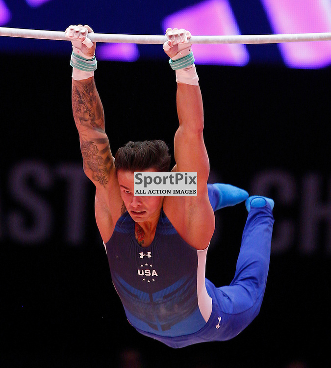 2015 Artistic Gymnastics World Championships being held in Glasgow from 23rd October to 1st November 2015....Paul Rugger III (USA) competing in the Horizontal Bar competition..(c) STEPHEN LAWSON | SportPix.org.uk