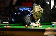 20.02.2016. Cardiff Arena, Cardiff, Wales. Bet Victor Welsh Open Snooker. Mark Allen versus Neil Robertson. Neil Robertson pots a red.