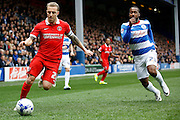 Charlton Athletic defender Chris Solly (20) looks to get a cross in to the box during the Sky Bet Championship match between Queens Park Rangers and Charlton Athletic at the Loftus Road Stadium, London, England on 9 April 2016. Photo by Andy Walter.