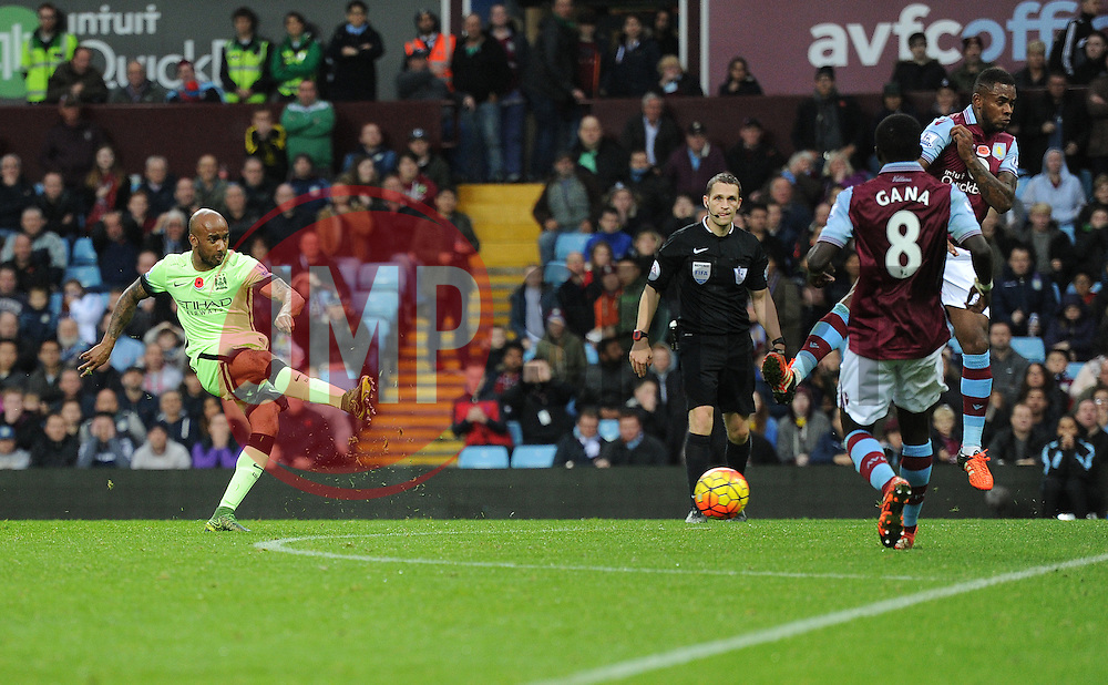 Fabian Delph of Manchester City shoots at goal. - Mandatory byline: Alex James/JMP - 07966 386802 - 08/11/2015 - FOOTBALL - Villa Park - Birmingham, England - Aston Villa v Manchester City - Barclays Premier League