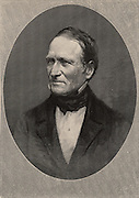 Edward Hitchcock (1793-1864), American geologist who was the third President of Amherst College (1845-1854). He carried out geological surveys in Massachusetts.  In palaeontology, he published papers on the fossilised dinosaur tracks in the Connecticut Valley.  Engraving, 1896.