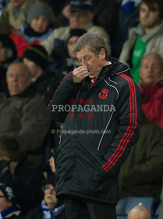 BLACKBURN, ENGLAND - Wednesday, January 5, 2011: Liverpool's manager Roy Hodgson looks dejected as his side are out-classed by lowly Blackburn Rovers during the Premiership match at Ewood Park. (Pic by: David Rawcliffe/Propaganda)