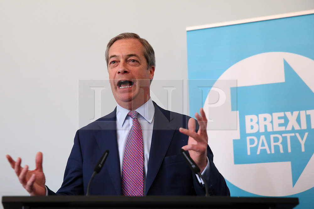 © Licensed to London News Pictures. 07/05/2019. London, UK. Nigel Farage, Leader of Brexit Party speaking at the press conference for the European election campaign in Westminster. Photo credit: Dinendra Haria/LNP