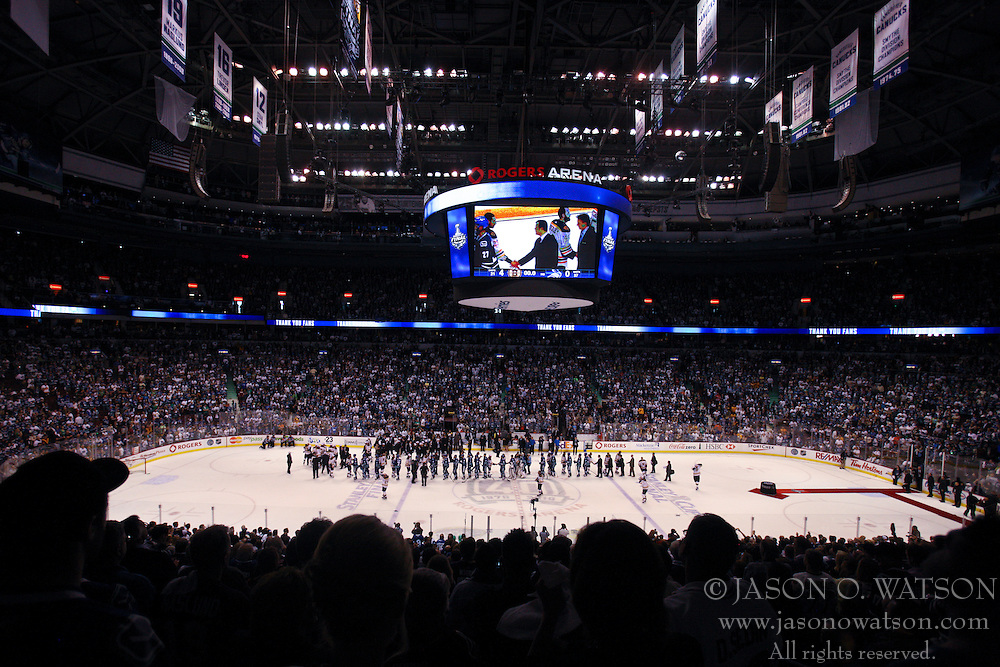 June 15, 2011; Vancouver, BC, CANADA; General view of Rogers Arena during the handshake between the Boston Bruins and the Vancouver Canucks after game seven of the 2011 Stanley Cup Finals. Boston defeated Vancouver 4-0. Mandatory Credit: Jason O. Watson / US PRESSWIRE