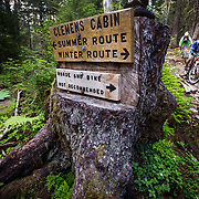 Heather and Jay Goodrich ride the bottom of the Lost Lake Trail near Seward, Alaska.