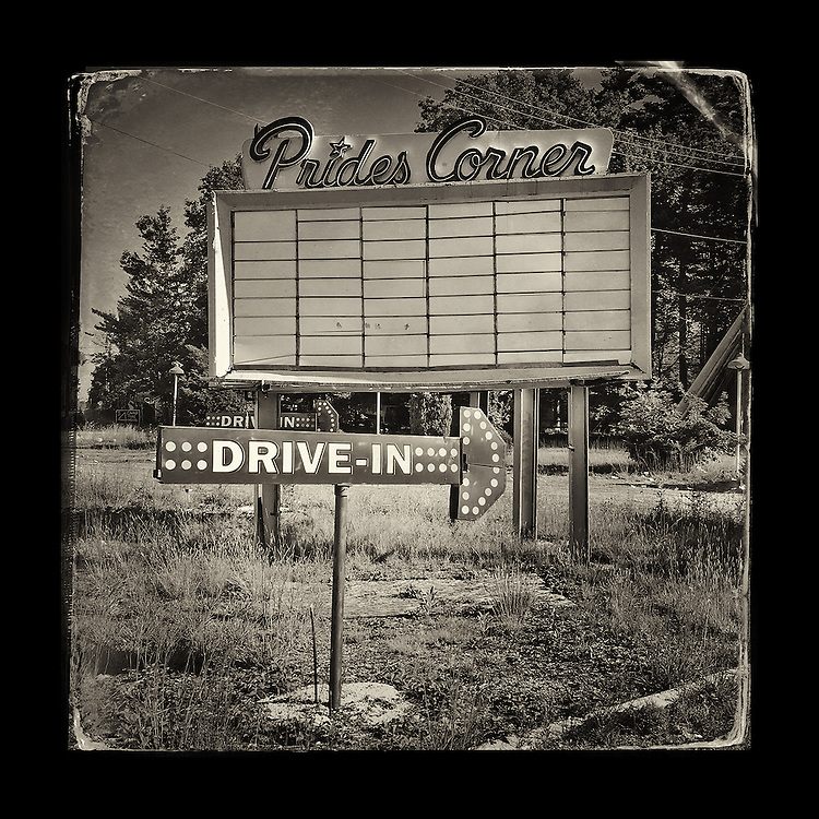 "Charles Blackburn image of Prides Corner Drive-In in Maine. 5x5"" print."