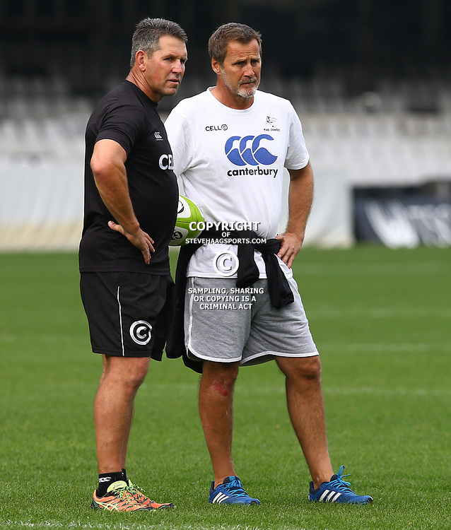 Braam van Straaten (Kicking Coach) of the Cell C Sharks with Robert du Preez (Head Coach) of the Cell C Sharks during The Cell C Sharks captain's run at Growthpoint Kings Park in Durban, South Africa. 3rd August 2017(Photo by Steve Haag)<br /> <br /> images for social media must have consent from Steve Haag