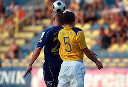 Ivan Knezovic  (25) of Domzale vs Jan Pahor (5) of Koper at 7th Round of PrvaLiga Telekom Slovenije between FC Koper vs NK Domzale, on August, 2008, in SRC Bonifika, in Koper, Slovenia. (Photo by Vid Ponikvar / Sportal Images)