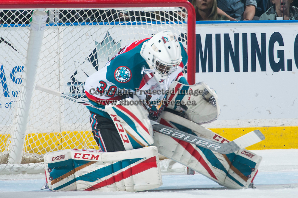 KELOWNA, CANADA - MARCH 31: Michael Herringer #30 of the Kelowna Rockets makes a save against the Kamloops Blazers on March 31, 2017 at Prospera Place in Kelowna, British Columbia, Canada.  (Photo by Marissa Baecker/Shoot the Breeze)  *** Local Caption ***
