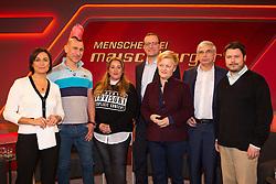 10.03.2015, WDR Studios, Stuttgart, GER, Menschen bei Maischberger, die Vorurteilsfalle gute Muslime boeser Islam, im Bild vl: Sandra Maischberger (Moderatorin), Andreas Thiel (Kabarettist), Idil Baydar (Comedian), Jens Spahn (CDU Bundestagsabgeordneter), Renate Kuenast (ehem. Parteivorsitzende Buendnis 90, Die Gruenen), Joachim Wagner (Journalist und Jurist) und Ender Cetin (Moscheevorstand) // during the television broadcast People and Politics on the topic of good Muslims wicked Islam at WDR Studios in Stuttgart, Germany on 2015/03/10. EXPA Pictures &copy; 2015, PhotoCredit: EXPA/ Eibner-Pressefoto/ Schueler<br /> <br /> *****ATTENTION - OUT of GER*****