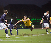 Craig McKeown's diving header deflects off Neil McGregor for Dundee's second goal - Dundee v Livingston, IRN BRU Scottish Football League, First Division at Dens Park - ..© David Young - .5 Foundry Place - .Monifieth - .Angus - .DD5 4BB - .Tel: 07765 252616 - .email: davidyoungphoto@gmail.com.web: www.davidyoungphoto.co.uk