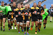 Wasps finish their warm upduring the Gallagher Premiership Rugby match between Wasps and London Irish at the Ricoh Arena, Coventry, England on 20 October 2019.