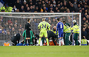 Everton defender Bryan Oviedo goes down injured and requires medical attention  during the Barclays Premier League match between Chelsea and Everton at Stamford Bridge, London, England on 16 January 2016. Photo by Andy Walter.