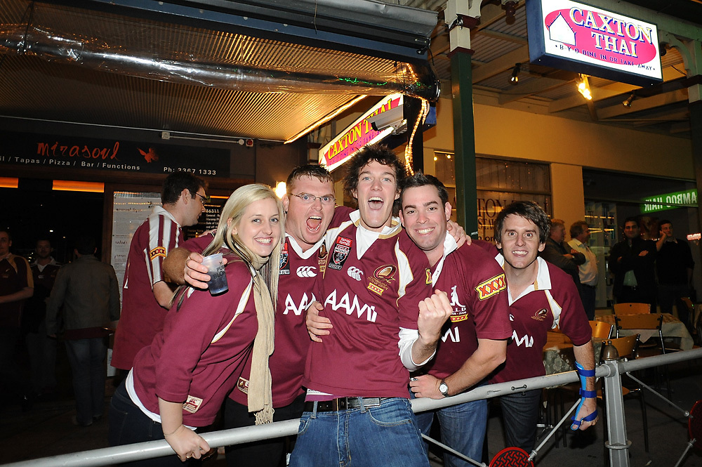 May 25th 2011: QLD Fans in Caxton Street before game 1 of the 2011 State of Origin series at Suncorp Stadium in Brisbane, Australia on May 25, 2011. Photo by Matt Roberts/mattrIMAGES.com.au / QRL