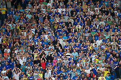 CARDIFF, WALES - Sunday, August 8, 2010: Cardiff City supporters hold their head in their hands as they see another shot go wide of the goal against Sheffield United during the League Championship match at the Cardiff City Stadium. (Pic by: David Rawcliffe/Propaganda)