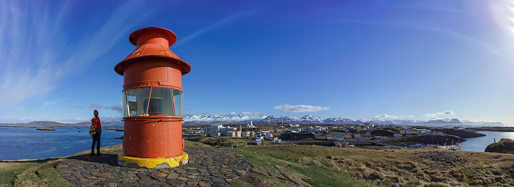 Panorama of Stykkishólmur lighthouse on the Snæfellsnes peninsula, Iceland