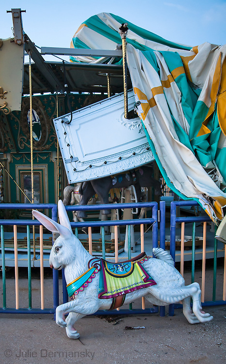 August, 24, 2008, Carousel at Six Flags Amusement Park in Eastern New Orleans, destroyed by Hurricane Katrina.